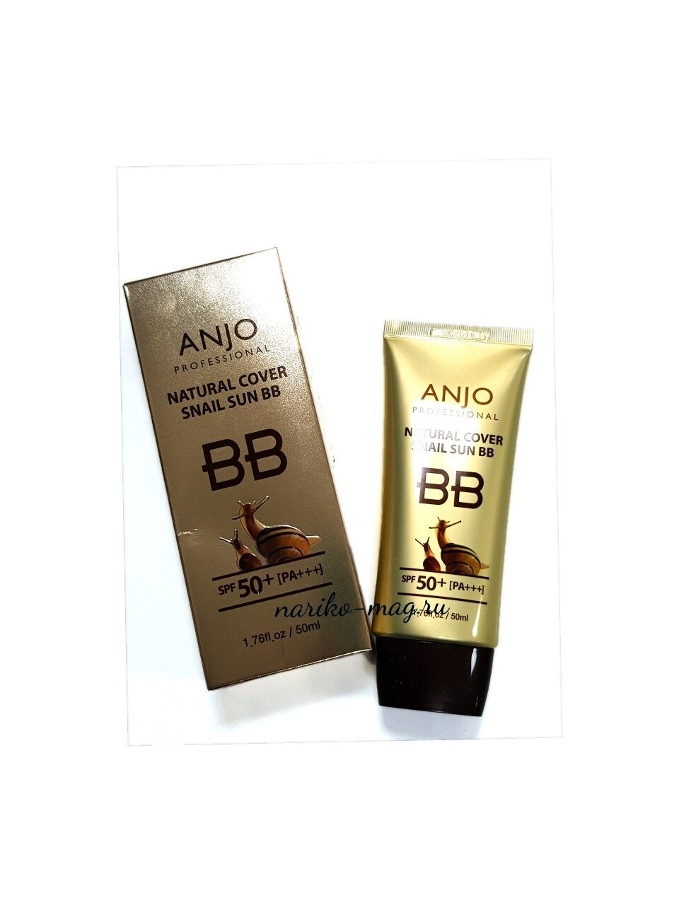 УЛИТОЧНЫЙ МУЦИН BB крем для лица ANJO Professional Natural Cover Snail Sun BB SPF50+PA+++, 50 мл.